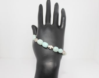 Genuine Amazonite Bracelet & Earrings