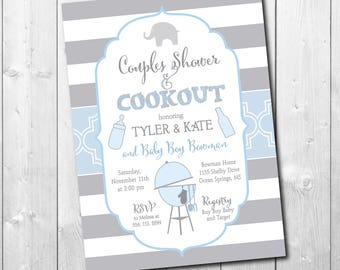 Couples Baby Shower Invitation cookout printable/Digital File/elephant, baby q, baby boy invitation, grill/Wording & Colors can be changed