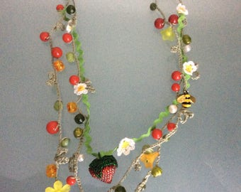 Necklace Pendant Strawberry Beadwork Handcraft