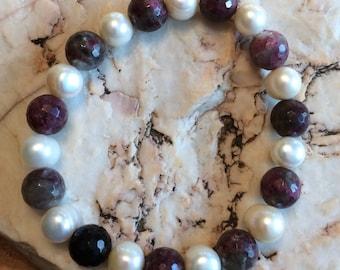 Elegant Pearl and Tourmaline  Stretch Bracelet