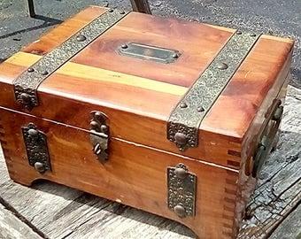 Vintage cedar(?) Trinket / Treasure box by Mcgraw Box Co. NY, Brass ornate trim