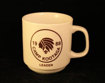 Vintage 1988 Boy Scouts of America CAMP KOOTAGA Troop Leader Ceramic Coffee Mug Tea Cup Native American Indian Chief Gift Collectible