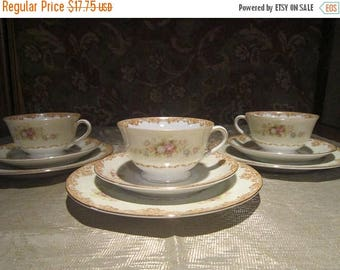 Jyoto Bone China Tea Cup Set Vintage 1940's Occupied Japan Tan Traditional 3pcs Serving Tea Coffee Serving Lunch Gift Collectible - CT0213