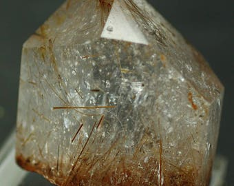 Rutile-included Polished Quartz crystal - Mineral Specimen for Sale