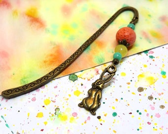 Bunny bookmark - Tiny metal bookmark - Colorful beaded bookmark - Unique book mark for books - Bookmark for kids - Hare charm bookmark