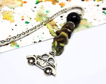 Car charm bookmark for men - Gift for boyfriend - Gemstone beaded bookmark - Unique nerdy gift - Mini metal bookmark - Geeky gift