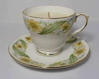Vintage Tea Cup Candle. Duchess Greensleeves English Fine Bone China Tea Cup and Saucer. By Fizzy Fuzzy.