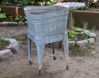 antique galvanized wash tub with stand no 2 wash pot shabby rustic planter