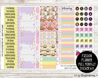 FULL February Monthly Section Kit Planner Stickers; 4 Sheets | Passion  Planner Classic and Compact