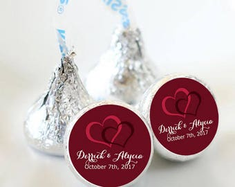 108 Custom Wedding Double Heart Hershey Kiss® Stickers - Bridal Shower Favors, Wedding Stickers, Labels, Party Favors, You pick the colors