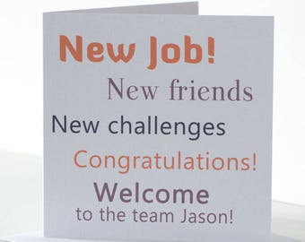 Personalised New Job Card for a new Colleague. Congratulations New Job Card for Welcome  a new team member .