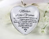 Mother Of The Groom Thank You Gift Personalised Bouquet Charm Heart Shaped Custom Name Quote