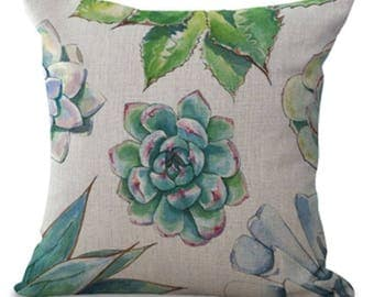 Cactus Plants Cacti Succulent Palm Leaf Green Garden Jungle Pillow Cushion Cover Linen Cotton