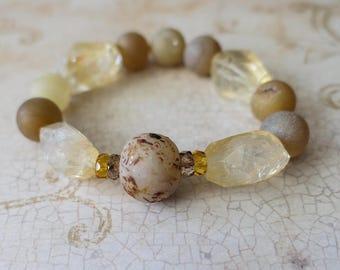 Citrine bracelet, druzy bracelet, chunky bracelet, tea jewely, summer bracelet, boho jewelry boho bracelet citrine jewelry, chunky jewelry