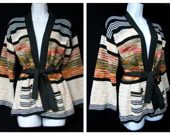 deadstock 70s vintage sweater space dye stripe vintage belted knit sweater bell sleeves open cardigan new without tag nwot new old stock nos