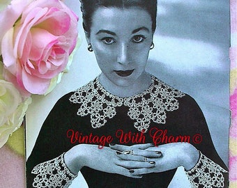 Vintage 1950s Tatting Pattern Copy For Lady's Exquisite Lace Collar & Cuff Set.
