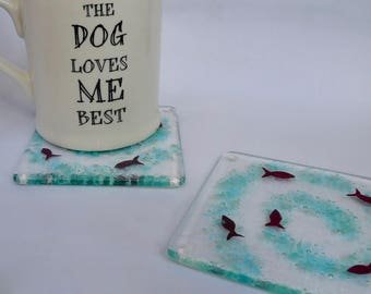 Coasters - drinks mats - Fused glass drinks coasters - fish coasters
