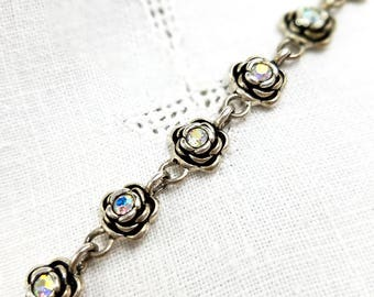 AB Rhinestone Rosette Bracelet Premier Design Silver Tone Link Bracelet