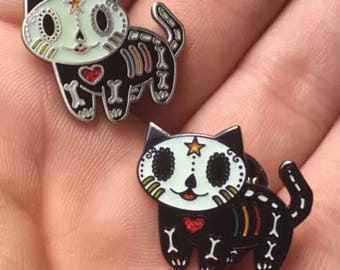 Set of 2 Dia de Los Muertos Gato Kitty Cat Lapel Pin Day of the Dead Geocoin