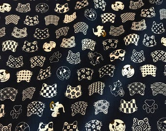 Westex Japanese Fabric - Cat Dots on Navy - Cotton Woven