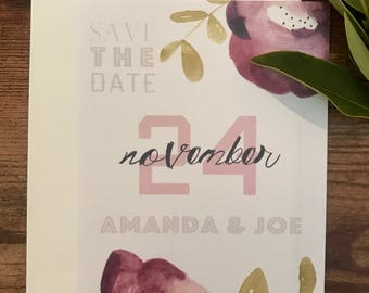 Floral Poppy Hand Painted Save the Date Deposit