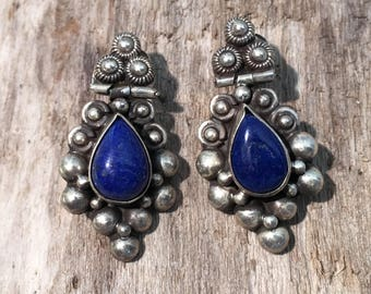 Lapis Studs Earrings...Sterling Silver Earrings...Handmade Vintage Earrings...Ethnic...Hippie...Gypsy...Gift...Vintage Shop