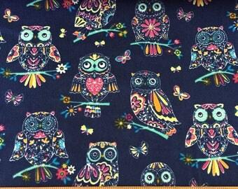 Navy Owl Babycord (Pincord) Corduroy Fabric, 21 Wale Corduroy,Cotton Corduroy,Babycord,Pincord - Half Metre