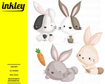 50%OFF!! Cute Rabbits Clipart - Cute Clipart, Rabbits Clipart, Fun Clipart, Clipart Set, Adorable Digital Clip Art