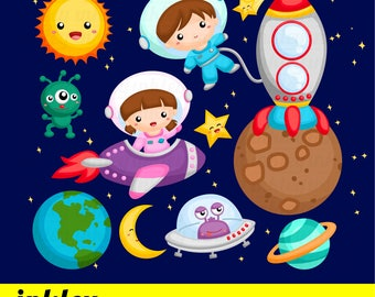 50%OFF!! Kids At Outer Space Clipart - Cute Clipart, Fun Clipart, Clipart Set, Adorable Digital Clip Art