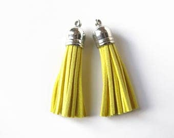 10 Suede Yellow Pompom Charms 6 x 1.2 cm