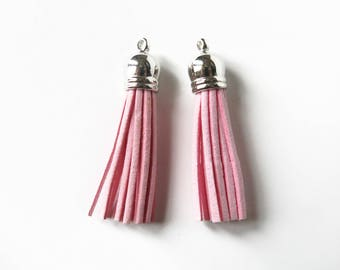 10 Suede Pink pompom Charms 6 x 1.2 cm