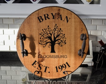 Personalized Wine Barrel Tray | Custom Serving Tray | Personalized Tray | Wedding Gift | Housewarming Gift | Rustic Tray