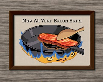 "Calcifer - ""May All Your Bacon Burn"" - PDF Cross Stitch Pattern - Inspired by Miyazaki's film, ""Howl's Moving Castle"""