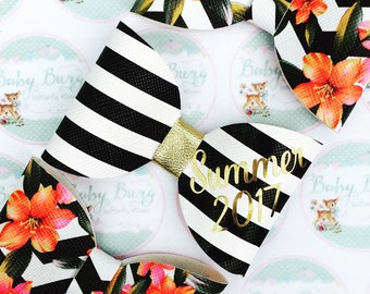 Black and White striped Bow with 'Summer 2017' embossed in gold  -Hairbows-Hairbands-Bows-Girls Hairbow