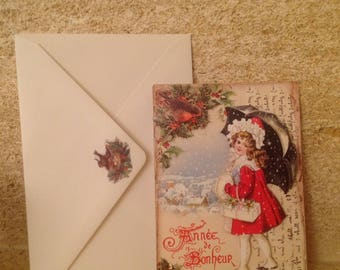 Set of 2 Christmas cards vintage envelopes, book marker and pouch