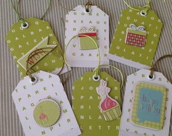 Set of 6 labels tags green and white colors. Set of 42.
