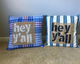 Upcycled shirt pillows