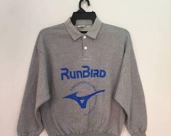Vintage!!! RUNBIRD sweatshirt big logo spellout by MIZUNO.. jumper pullover.. vintage sweatshirt.. size S gray