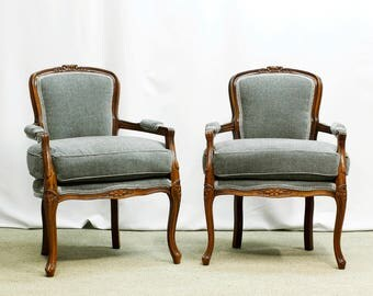 Luxurious velvety Grey Bergere Chairs