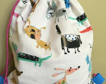 Handmade drawstring backpack, dog theme rucksack, cute school bag, gift for animal lover, lightweight bookbag, gym or camp sling pack