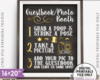 "Guestbook Photobooth Sign, Add photo to the Guest Book Sign, Photo Booth Wedding Sign, 16x20"" Chalkboard Style Printable Instant Download"