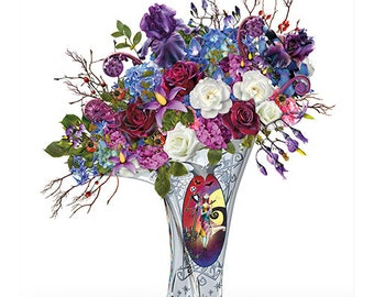 The Nightmare Before Christmas Undying Love lluminated centrepiece with floral bouquet and vase by The Bradford Exchange