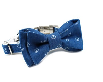 Luxury Dog or Cat Bow Tie - The EZRA // Classic (nautical chambray anchor print)