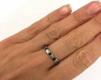 9ct White Gold Full Eternity CZ Ring Size O