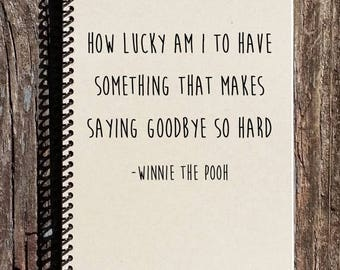 SALE - Goodbye Gift - Winnie the Pooh Notebook - Winnie the Pooh Saying Goodbye - Going Away Present - Moving Away Gift - Saying Goodbye
