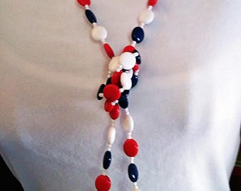 Ladies Vintage 60's Lucite and Glass Beaded Jewelry Set July 4th Red White Blue