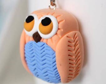 Coral owl keychain