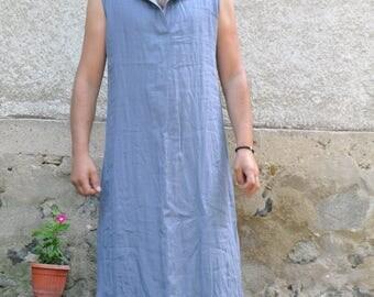 Gray 100% LINEN men's Tunic/Minimalist design/Summer caftan for men/Handmade tunic/Men's long shirt/Sleeveless men's Long Tunic/MT1001