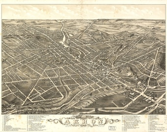 Akron OH Panoramic map from 1888. This print is a wonderful wall decoration for Den, Office, Man Cave or any wall seeking a bit of decor.