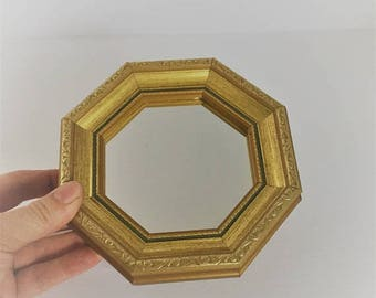 ON SALE vintage gold mirror small gold hanging mirror small gold mirror wall decor gold wall grouping small wall mirror octagon gold mirror